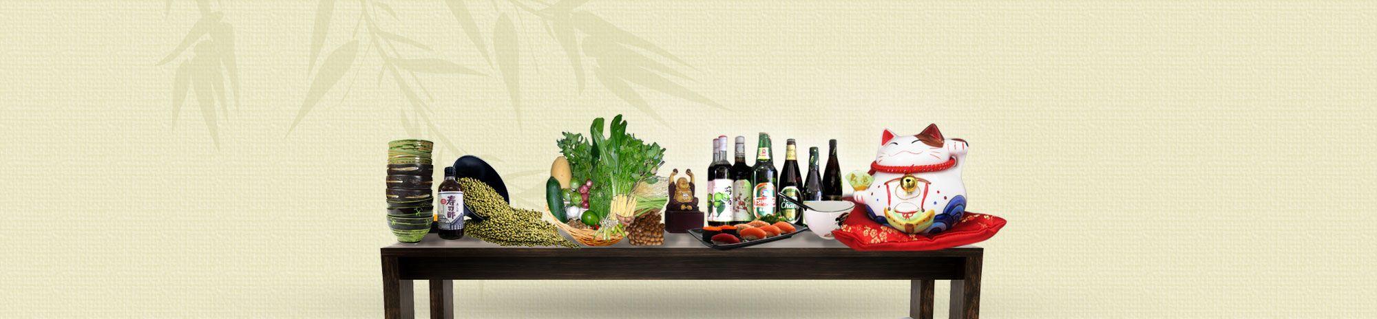 Bild von einem Tisch mit asiatischen Lebensmitteln